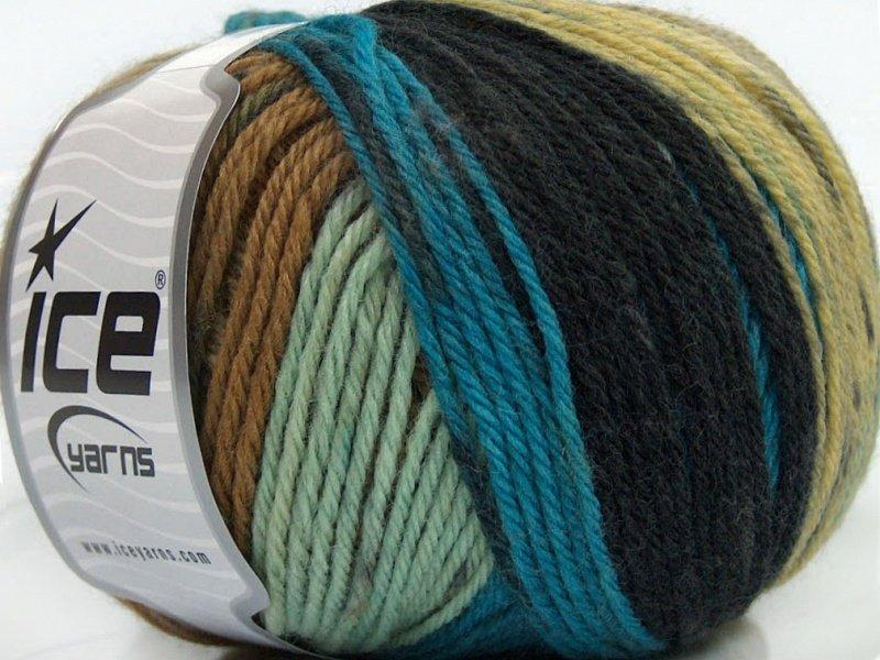 Pure Wool, melns + zils + kamieļkrāsa + krēmkrāsa, 100g