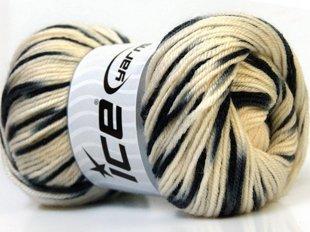 Wool DeLuxe, krēmkrāsa + melns, 100g