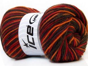 Wool DeLuxe, sarkans + haki + oranžs + brūns, 100g