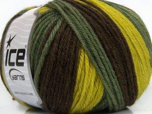 Pure Wool, zaļš + brūns + dzeltens, 100g