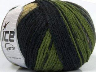 Pure Wool, zaļš + melns + pelēks + krēmkrāsa, 100g